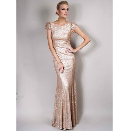 Olivia White Exclusive cap sleeves Sequin Maxi Dress