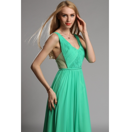Green two straps open back dress